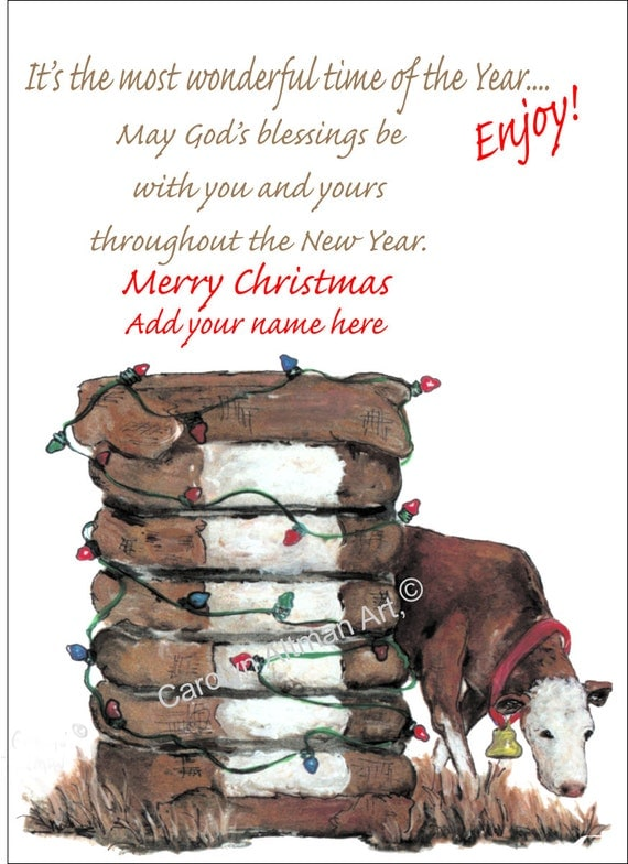 Cow and Cotton Christmas Cards Package of 20