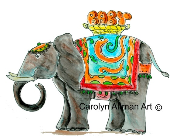 Fancy Elephant 12x12 inch canvas art prints