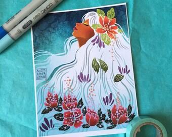 """Aqua Floral Hair - Print - 5 x 6.5"""""""