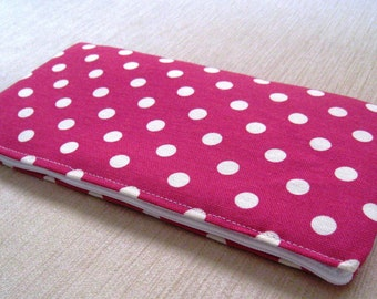 Polka Dots Bright Bright Pink - Cash Wallet, Clutch, Make Up Bag Large Zippered Pouch - Flat - Ready to Ship