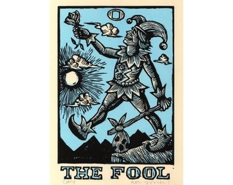 Occult Art Print, Fool Tarot Card Linocut Art, The Fool Tarot Block Print, occult art wall decor