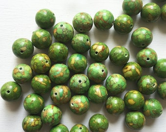 Green Mosaic Turquoise 14mm Smooth Round