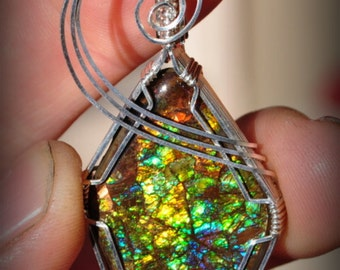 RESERVED for DUSTIN fossil AMMOLITE gem pendant in sterling 22 gauge wire