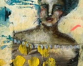 Reserved for P. daffodils, abstract mixed media folk art by mystele