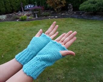 Christmas hand crochet hand warmer glove Turquoise fingerless wool acrylic