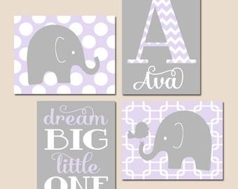 GIRL Elephant Nursery Wall Art, Lilac Gray Nursery Decor, Baby Girl Nursery Artwork, Dream Big Little One, CANVAS or Prints Set of 4