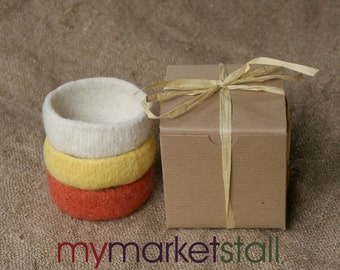 Felted Stacking Bowl Set - Mango/Pineapple/Coconut Colors - Ready to Ship