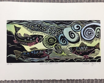 For the fisherman -- Hand water colored original Woodcut of Action in the Riffles hand-rubbed on quality print paper