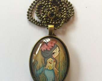 Tattooed Mermaid Art Pendant And Necklace