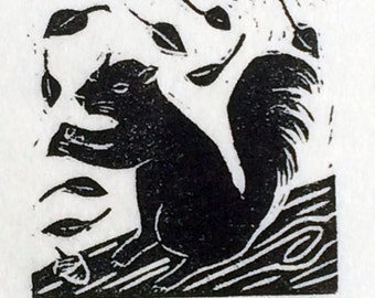 Little Squirrel-Ruchika Madan- tiny linoleum block print
