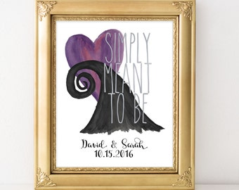 Nightmare Before Christmas Art - Simply Meant to Be - Personalized Art Print - Valentine's Day - Limited Edition