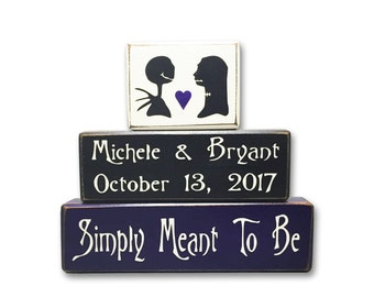Jack and Sally wedding personalized nightmare before Christmas wedding sign blocks, simply meant to be, disney wedding halloween wedding