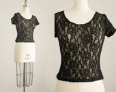 20% Off With Coupon Code! 90s Vintage Black Floral Lace Bodycon Crop Top / Size Small / Medium