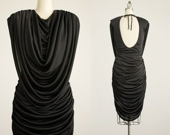 80s Vintage Black Grecian Cascade Evening Dress / Size Medium