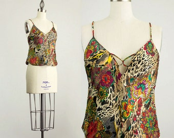 90s Vintage Floral Leopard Print Camisole Tank Top / Size Extra Small / Small