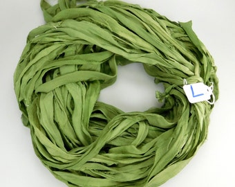 Silk Sari ribbon, Sari silk ribbon, Silk Chiffon Sari Ribbon, green sari ribbon, chiffon ribbon, green ribbon