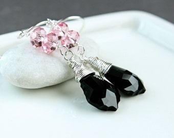 Long Swarovski   Earrings       Swarovski  Crystal Jewelry Fashion Accessories Black Swarovski Jewellery Pink Crystal Earrings Party Jewelry