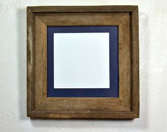 Eco friendly picture frame 8x8 with dark blue mat for 5x5 or 6x6