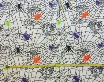 Halloween Spider Webs on cotton lycra knit fabric 58""