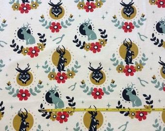 "NEW Birch Jackalope Cream on Organic Cotton Interlock 42-44"" wide per yard"