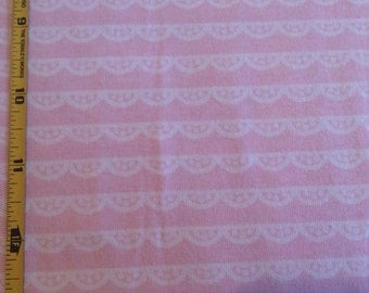NEW Riley Blake Idle Wild Lace Printed on Pink cotton Lycra  knit fabric 1 yd