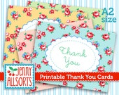 Printable Thank You Cards - Shabby Chic Roses on Pretty Pastels - Digital Instant Download