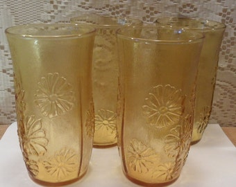 Vintage Anchor Hocking drinking glasses Spring Song Ice tea daisy honey gold