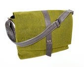 Messenger Bag / Waxed Canvas Bag / Waxed Canvas Crossbody Bag / Shoulder Bag / Overnighter - The Sloane Waxed Canvas Bag in Army Green