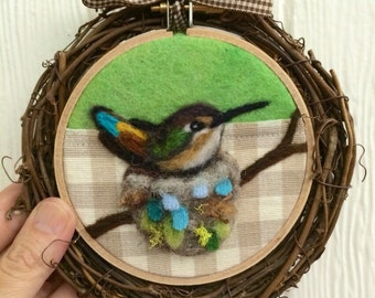 Rufous Hummingbird on the Nest Needle Felted Embroidery Hoop Art by Val's Art Studio