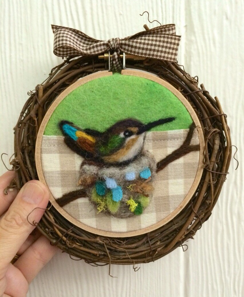Rufous hummingbird on the nest needle felted embroidery hoop