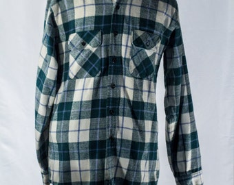 Men's Plaid Shirt / Vintage Green, Blue and White / Size Large Tall / XL / #2089