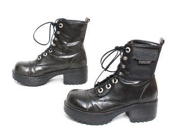 size 6 PLATFORM vegan leather 80s 90s COMBAT GRUNGE lace up chunky ankle boots