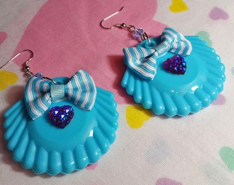 Sea shell drop earrings, mermaid sparkle blue dangle seapunk