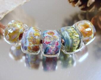Handmade lampwork glass beads, Artisan glass beads, blue beads, purple beads, amber beads, freeform barrel beads, SRA lampwork beads