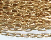 32 ft of Light Gold Plated long oval chain 3.6x2mm, gold plated small brass chain, bulk gold chain