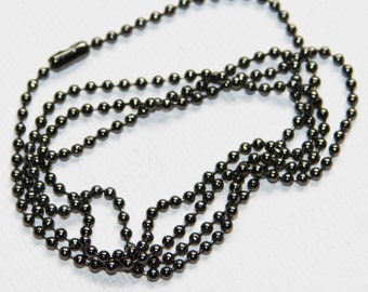 5 strands of 24 inch Gunmetal ball chain with connector  1.8mm