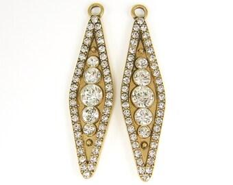 Long Antique Gold Clear Rhinestone Pendant Marquis Shape Pendant Drop Earring Findings Brass |LG4-3|2