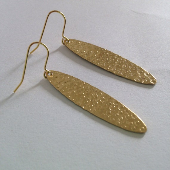 Oval Long Brass Earrings - Textured - Hammered - Patterned - Tribal - Gypsy - Festival - Frida Kahlo - Long - Drop - Dangle - Gold - Golden