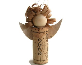 Wine cork angel, made from a wine cork, recycled brown paper & handmade paper wings - Angel housewarming decoration for protection