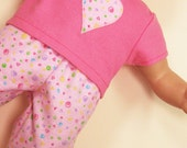 Bitty or Twin Doll Clothes - Pink Squiggles Pajamas with Heart Applique