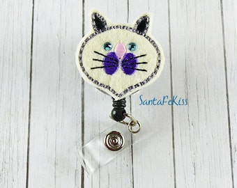 Purple Cat with rhinestone eyes Felt ID Badge Holder with Retractable Badge Reel for Office Worker / Teacher/ Coworker / Nurse