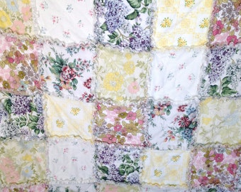 """Rag Quilt  Flowers  68"""" X 78"""" Made From  Vintage Sheets Quilt Blanket Throw   Shabby Chic Toddler Girl Teen  Birthday   Gift"""