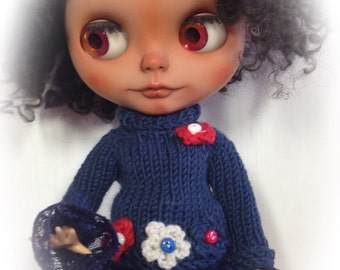 Beautiful Navy   ..Oversized jumper , Blythe,Pullip,MonsterH,sleepingelf bjds