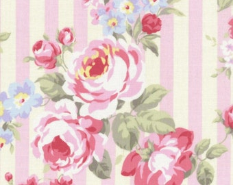 SALE Pink Stripe Bouquet Roses 31264 20 by Lecien Fabrics Princess Rose Clearance