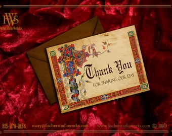 Medieval Style Thank You Notes-medieval style, customize your message