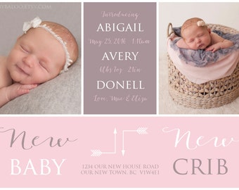 MOVING BIRTH ANNOUNCEMENT - New Baby New Crib - Photo Baby Announcement - Baby Girl Announcement - Newborn, Modern, Printable, Digital