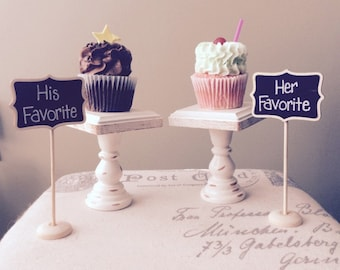 """Wood cupcake or mini cake stand pedestal choose your color  4 """" square Dessert stand"""