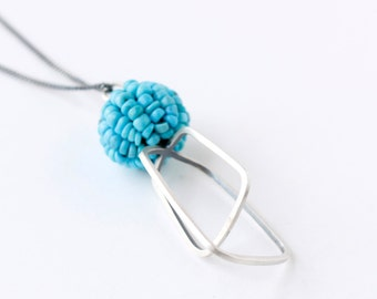 Whisk Necklace - Turquoise and Silver