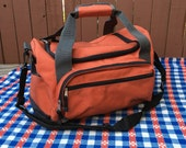 Vintage Eddie Bauer Orange Gym Duffel Bag Carry On Weekender Camping