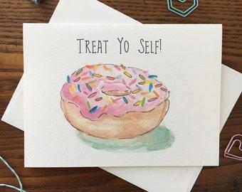 Donut Card. Treat Your Self Card. Donut with Sprinkles. Donut Lover. Birthday Card. Card for Friend. Pink Donut. Blank Card. Single Card